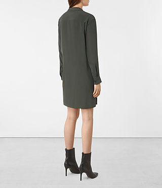 Women's Milton Silk Dress (SMOKE BLACK) - product_image_alt_text_5