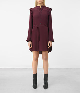 Womens Sora Silk Dress (Maroon)