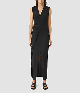 Womens Long Siv Dress (Black) - product_image_alt_text_1