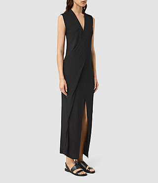 Womens Long Siv Dress (Black) - product_image_alt_text_2