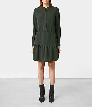 Damen Lin Sleeve Dress (SMOKE BLACK)