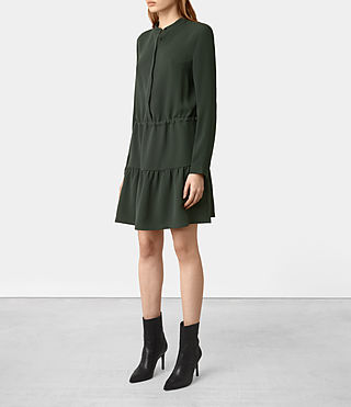 Womens Lin Sleeve Dress (SMOKE BLACK) - product_image_alt_text_3