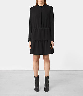 Femmes Lin Sleeve Dress (Black)