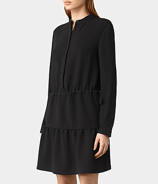 Femmes Robe Lin Sleeve (Black) - product_image_alt_text_2