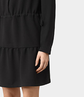 Femmes Robe Lin Sleeve (Black) - product_image_alt_text_4