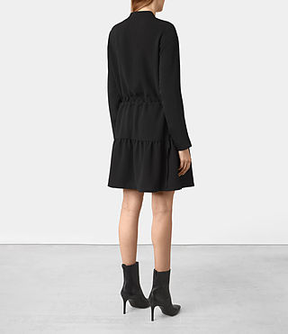 Femmes Robe Lin Sleeve (Black) - product_image_alt_text_5