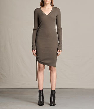 Womens Vana V-Neck Dress (Khaki Green)