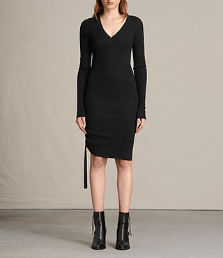Mujer Vana V Neck Dress (Black)