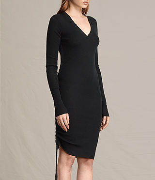 Womens Vana V-Neck Dress (Black) - product_image_alt_text_3
