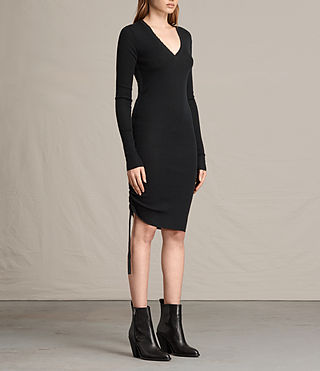 Womens Vana V-Neck Dress (Black) - product_image_alt_text_4