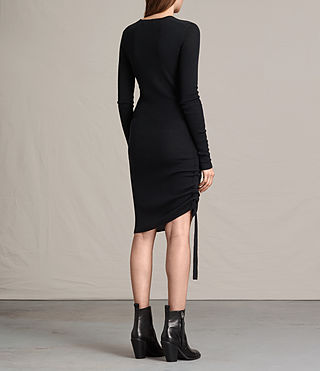 Womens Vana V-Neck Dress (Black) - product_image_alt_text_7