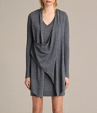 Femmes Robe Drina à col en V (Charcoal Grey)
