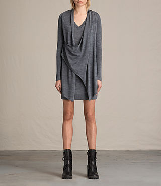 Mujer Drina V-neck Dress (CHARCOAL GREY MARL) - product_image_alt_text_1