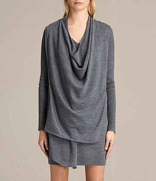 Mujer Drina V-neck Dress (CHARCOAL GREY MARL) - product_image_alt_text_4
