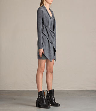 Mujer Drina V-neck Dress (CHARCOAL GREY MARL) - product_image_alt_text_6