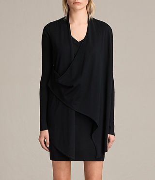 Womens Drina V-Neck Dress (Black) - product_image_alt_text_4