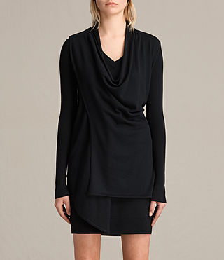 Womens Drina V-Neck Dress (Black) - product_image_alt_text_6