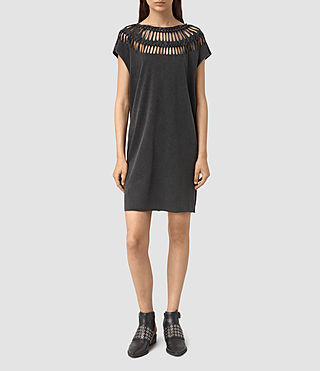 Mujer Slash Tee Dress (Black) - product_image_alt_text_1