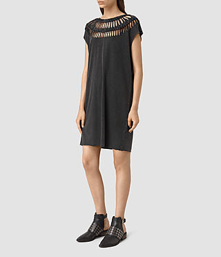 Damen Slash Tee Dress (Black) - product_image_alt_text_3