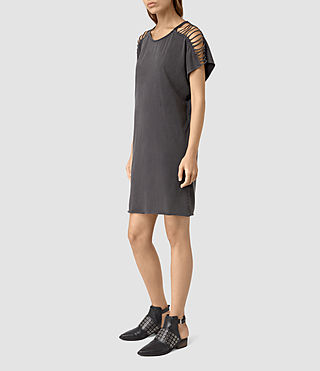 Womens Slash Shoulder Tee Dress (Black)