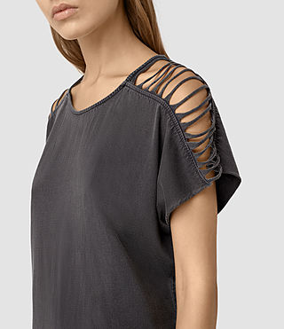 Femmes Slash Shoulder Tee Dress (Black) - product_image_alt_text_2