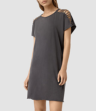 Femmes Slash Shoulder Tee Dress (Black) - product_image_alt_text_4