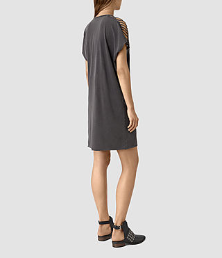 Damen Slash Shoulder Tee Dress (Black) - product_image_alt_text_5