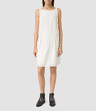 Womens Milda Broderie Dress (Chalk White)
