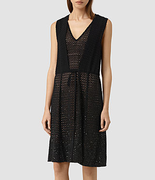 Mujer Milda Embellished Long Dress (Black) - product_image_alt_text_3