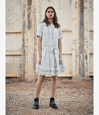 Mujer Abel Emrys Print Dress (Chalk White) - product_image_alt_text_5