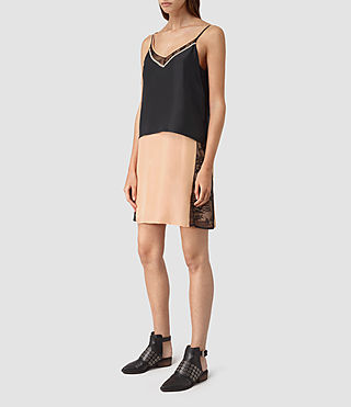 Mujer Alena Silk Slip Dress (Rose Pink/Black)