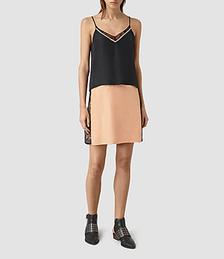 Femmes Alena Silk Slip Dress (Rose Pink/Black) - product_image_alt_text_3