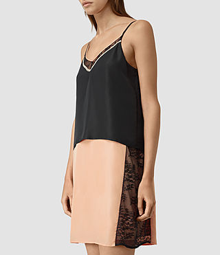 Femmes Alena Silk Slip Dress (Rose Pink/Black) - product_image_alt_text_4
