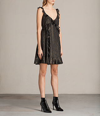 Women's Darell Ruffle Dress (BLACK/GOLD) - Image 3