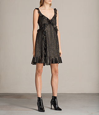 Women's Darell Ruffle Dress (BLACK/GOLD) - Image 4