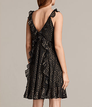 Women's Darell Ruffle Dress (BLACK/GOLD) - Image 7