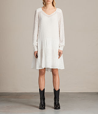 Mujer Abelie Embroidered Dress (Chalk White)