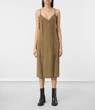 Mujer Perry Silk Dress (Tobacco Gold)
