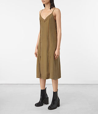 Womens Perry Silk Dress (Tobacco Gold) - product_image_alt_text_3