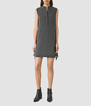 Mujer Isha Silk Dress (Gunmetal) - product_image_alt_text_1