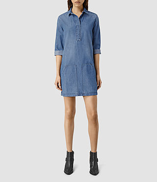 Womens Ash Denim Shirt Dress (LIGHT INDIGO BLUE)