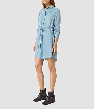 Women's Sanko Denim Dress (Indigo Blue) - product_image_alt_text_3