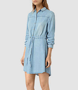 Mujer Sanko Denim Dress (Indigo Blue) - product_image_alt_text_4