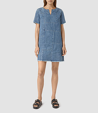 Damen Ann Tonal Denim Dres (Indigo Blue)
