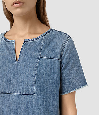 Womens Ann Tonal Denim Dress (Indigo Blue) - product_image_alt_text_2