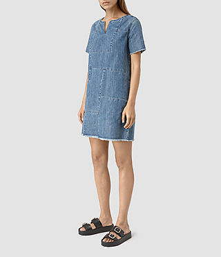 Womens Ann Tonal Denim Dress (Indigo Blue) - product_image_alt_text_3