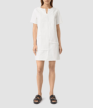 Womens Ann Tonal White Dress (White)