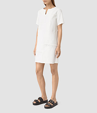 Mujer Ann Tonal White Dress (White) - product_image_alt_text_3