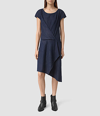 Damen Breeze Denim Dress (DARK INDIGO BLUE)