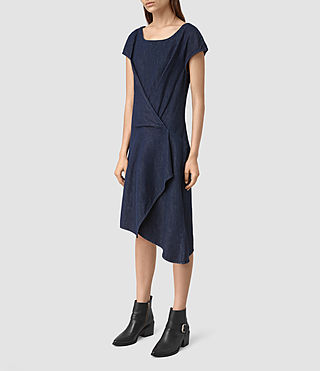 Femmes Breeze Denim Dress (DARK INDIGO BLUE) - product_image_alt_text_4